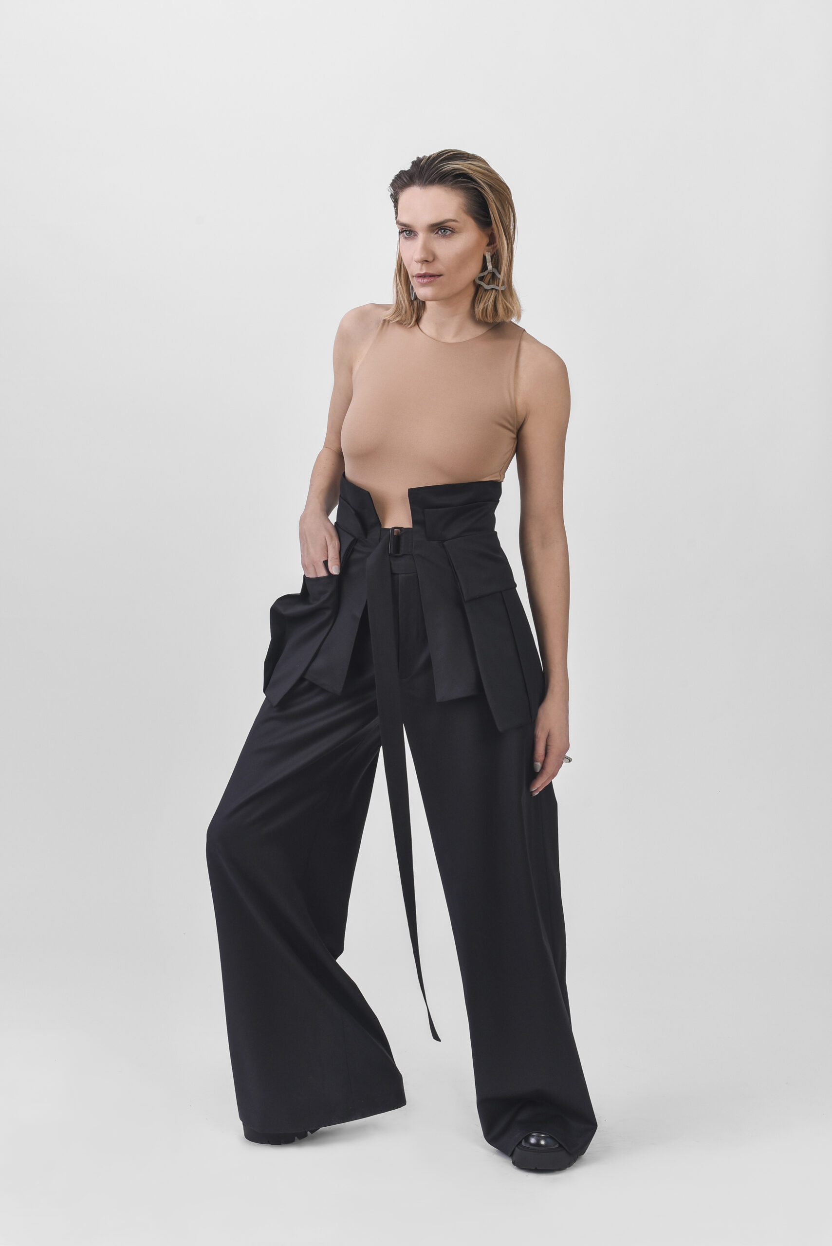 Black wide trousers and waist belt
