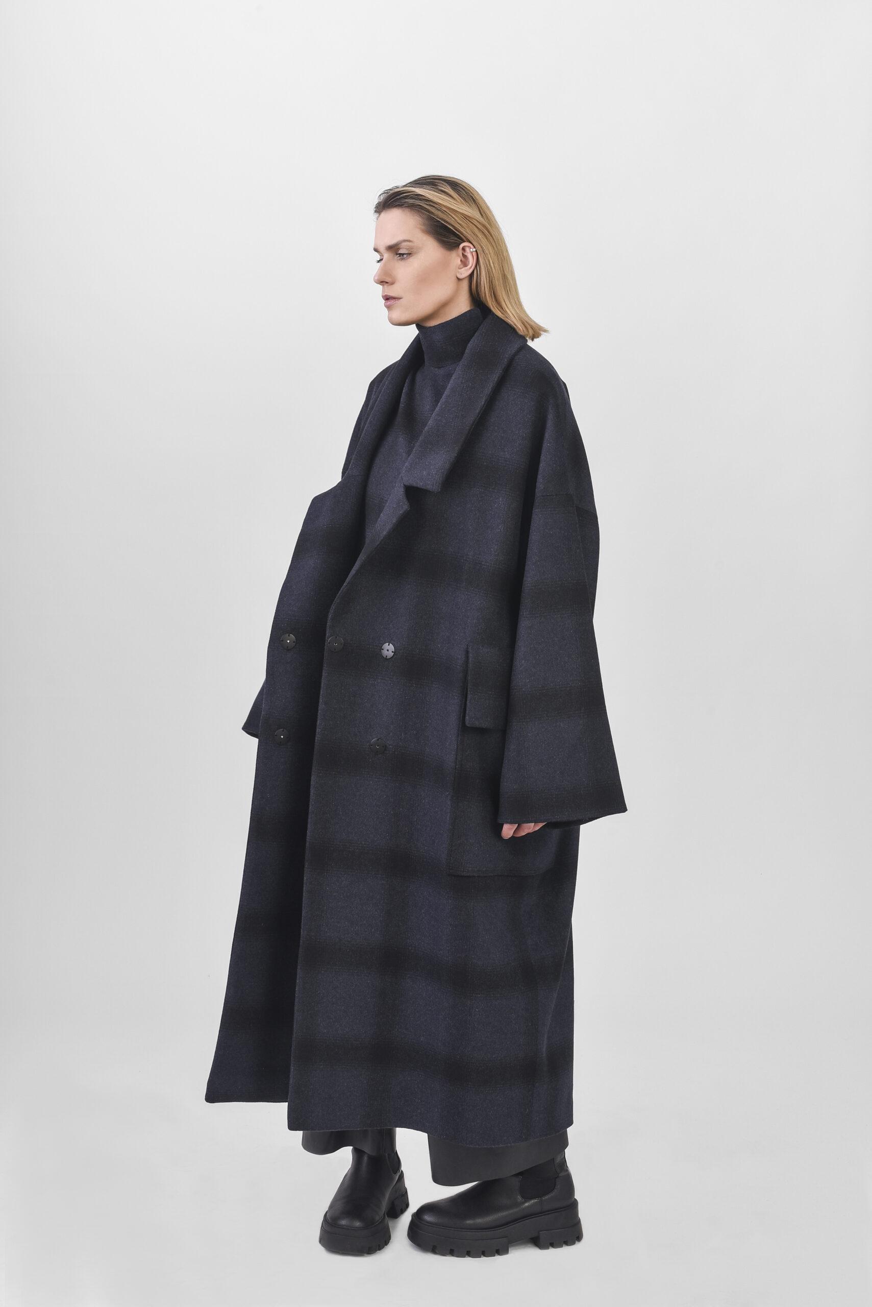 Deep, navy blue, plaid oversize coat, and vest duo