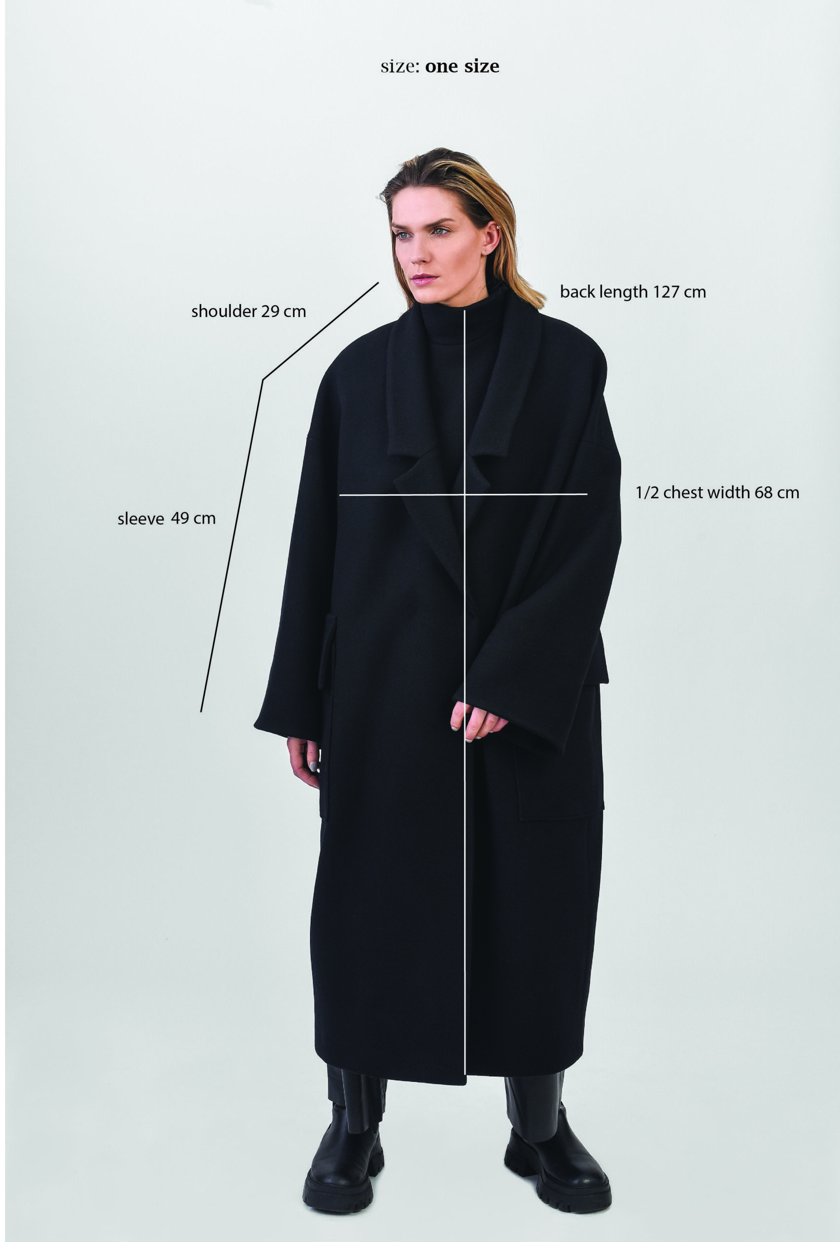 black oversize woman coat